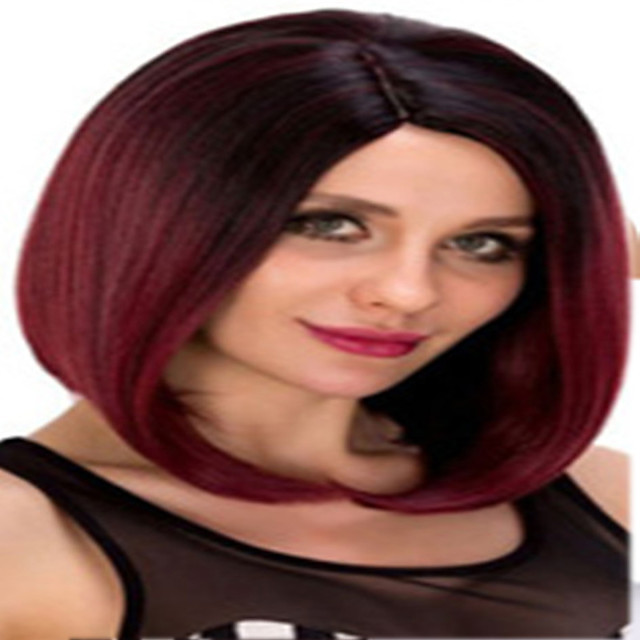 Synthetic Wig kinky Straight Asymmetrical Wig Short Burgundy Synthetic Hair 12 inch Women's Fashionable Design Classic Women Burgundy