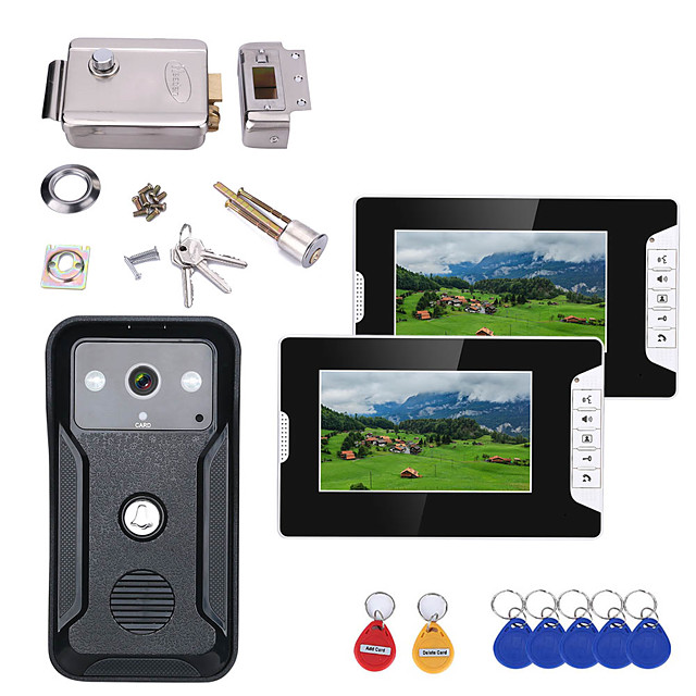7 Inch 2Monitors Video Intercom Door Phone RFID System with HD Doorbell 1000TVL Camera with Home Stainless Steel Electronic Door Lock