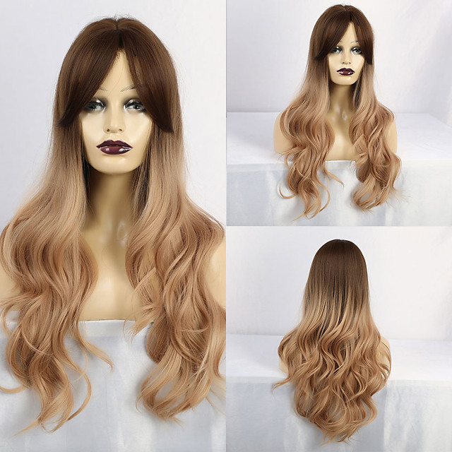 Synthetic Wig Curly Matte Middle Part With Bangs Wig Long Light Blonde Synthetic Hair 28 inch Women's Exquisite curling Blonde