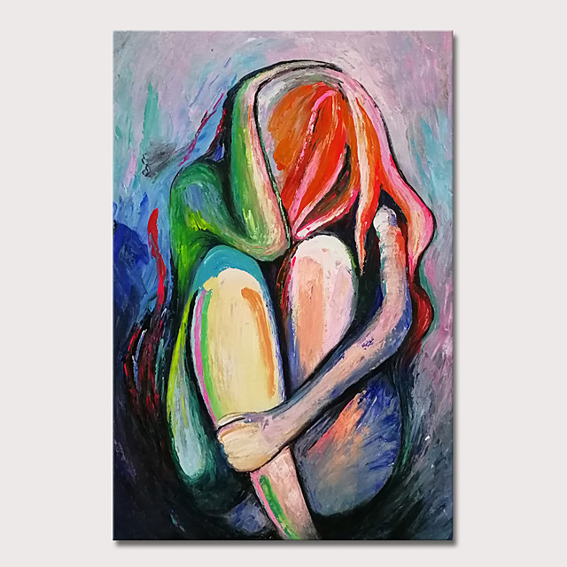 Mintura Hand Painted Knife Abstract Girl Oil Paintings on Canvas Modern Wall Picture Pop Art Posters For Home Decoration Ready To Hang