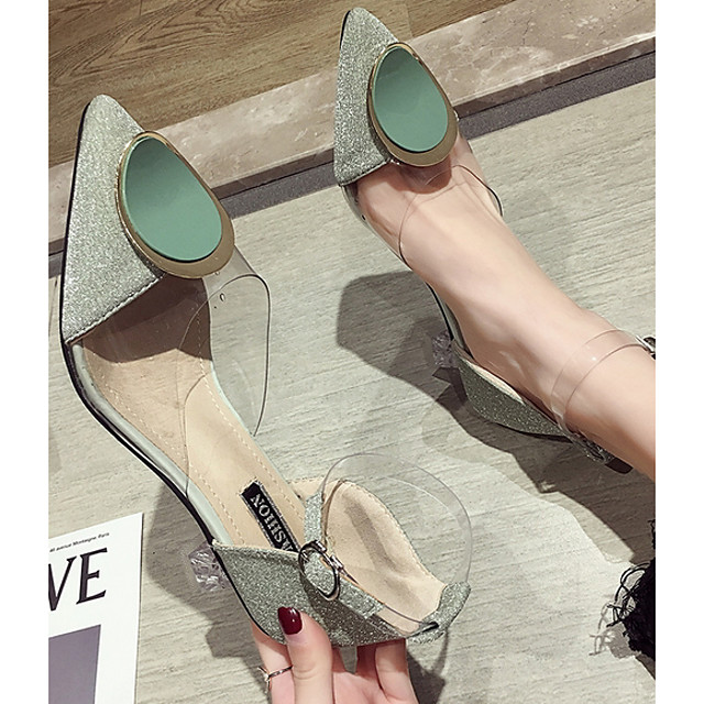 Women's Heels Spring & Summer Flared Heel Pointed Toe Daily Solid Colored PU Almond / Green