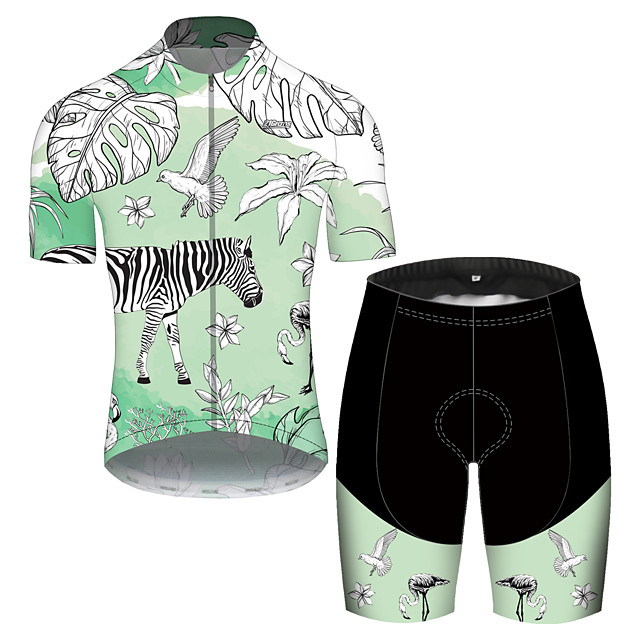 21Grams Men's Short Sleeve Cycling Jersey with Shorts Spandex Polyester Green Oktoberfest Beer Bike Clothing Suit UV Resistant Breathable Quick Dry Sweat-wicking Sports Oktoberfest Beer Mountain Bike