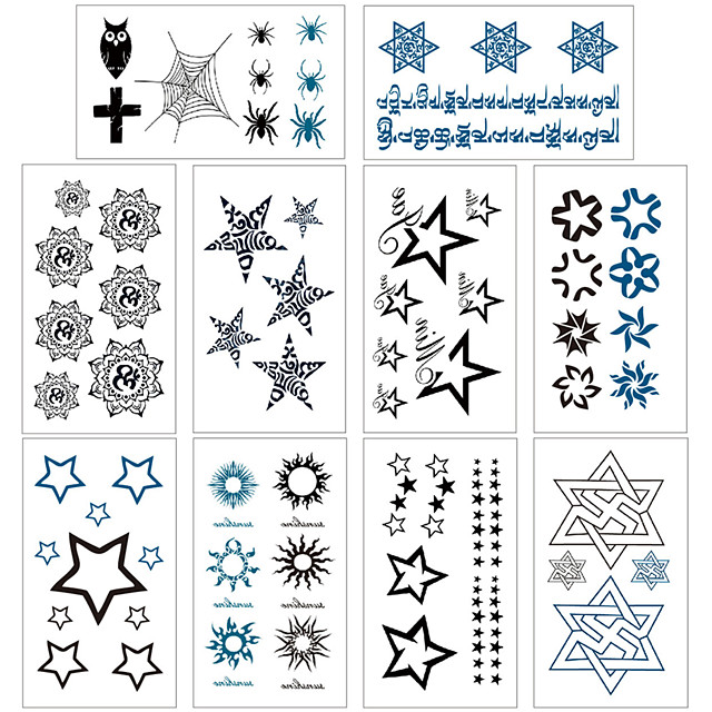 10 pcs Temporary Tattoos Water Resistant / Waterproof / Mini Style / Safety Face / Body / Hand Water-Transfer Sticker Body Painting Colors