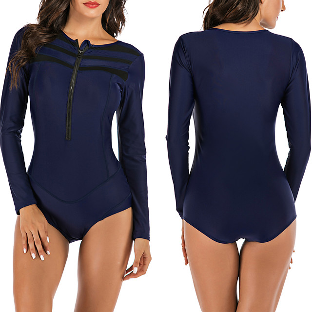 Women's One Piece Swimsuit Padded Swimwear Swimwear Dark Navy Breathable Quick Dry Comfortable Long Sleeve - Swimming Surfing Water Sports Autumn / Fall Spring / Stretchy