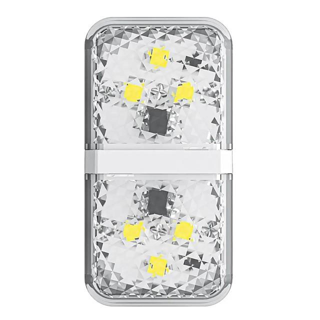 Baseus 6 LED Car Door Opening Safety Warning Light Anti Collision Alternating Flashing Signal Lamps White Color 2PCS
