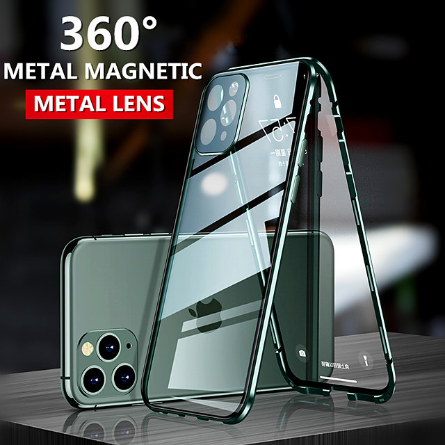Magnetic Double Sided Case For Apple iPhone 11 / iPhone 11 Pro / iPhone 11 Pro Max Shockproof / Dustproof / Transparent Full Body Cases Transparent Tempered Glass / Metal