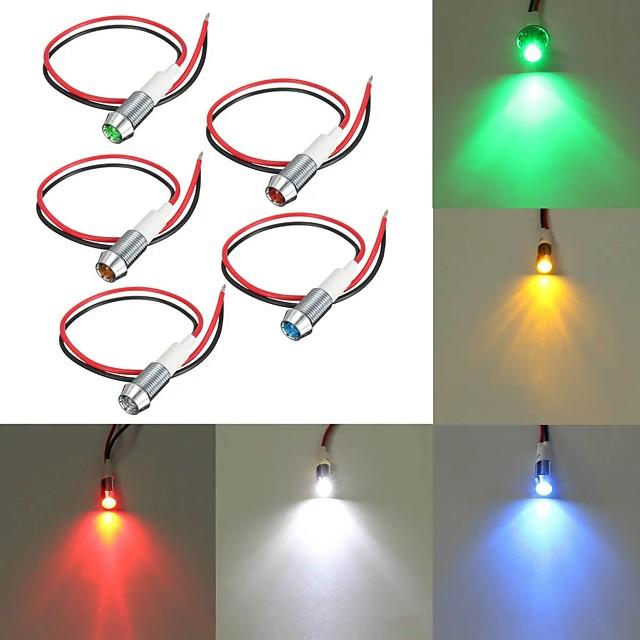 10mm LED Metal Warning Light 12V Dash Panel Indicator Bulb Lamp for Car Boat Marine