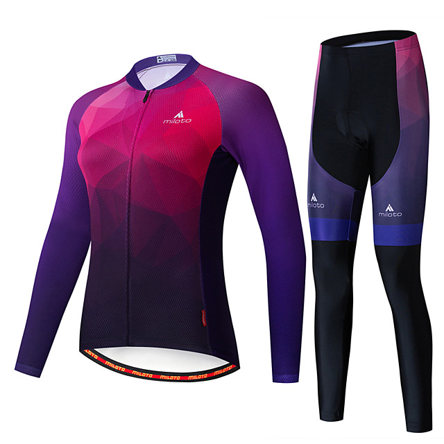 Miloto Women's Long Sleeve Cycling Jersey with Tights Black / Red Bike Breathable Sports Patterned Mountain Bike MTB Road Bike Cycling Clothing Apparel / Stretchy