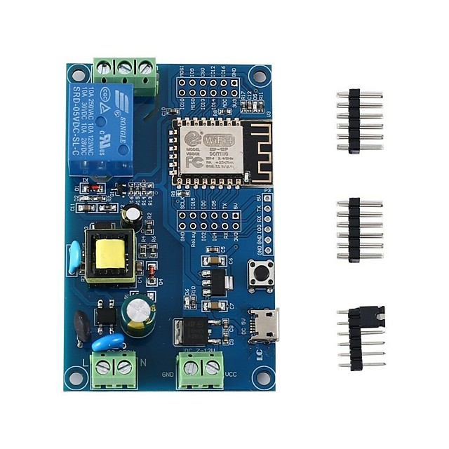 AC 220V DC 12V ESP8266 WIFI Single Switch Relay Development Board 4M Byte Flash