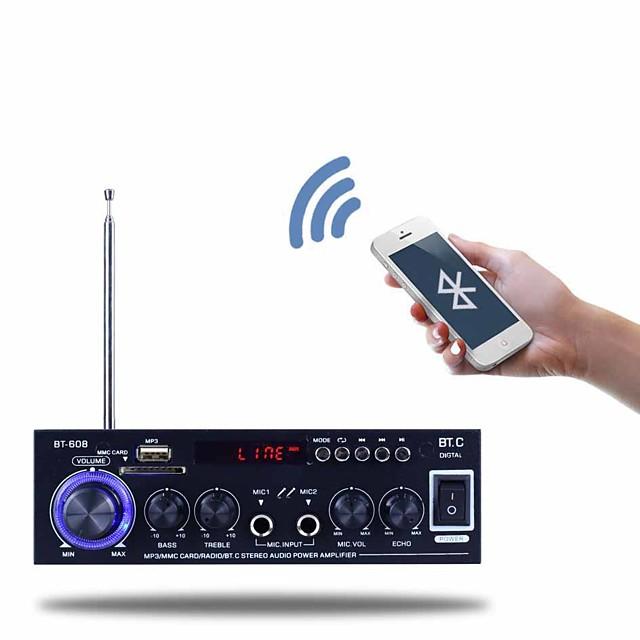 Power Amplifier Digital Audio Stereo Hi-Fi 40+40 2.0 BT-608 Abdomen Microphone 80 for Car Home Theater Speakers DIY