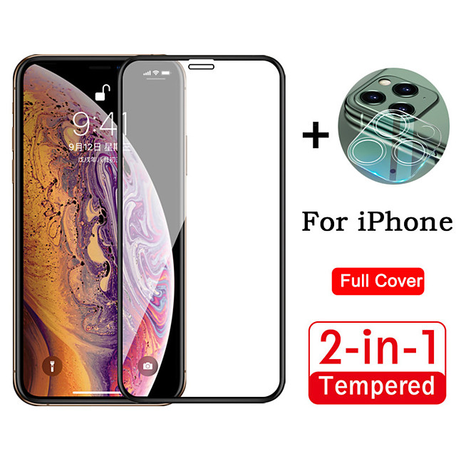 2 in 1 Full Cover HD Tempered Glass Protective Film For iPhone 11 / 11 Pro / 11 Pro Max With 3D Full Cover Camera Lens Protective Film Anti-Scratch Anti-Fingerprint Protective Film 1 Piece Each