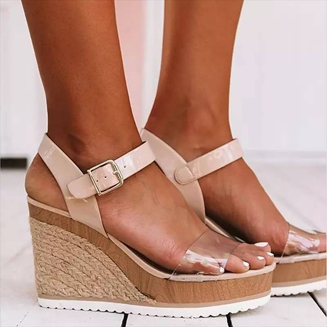 Women's Sandals Wedge Sandals 2020 Summer Wedge Heel Open Toe Classic Basic Daily Outdoor Color Block PU Walking Shoes Black / White / Black / Pink / Clear / Transparent / PVC