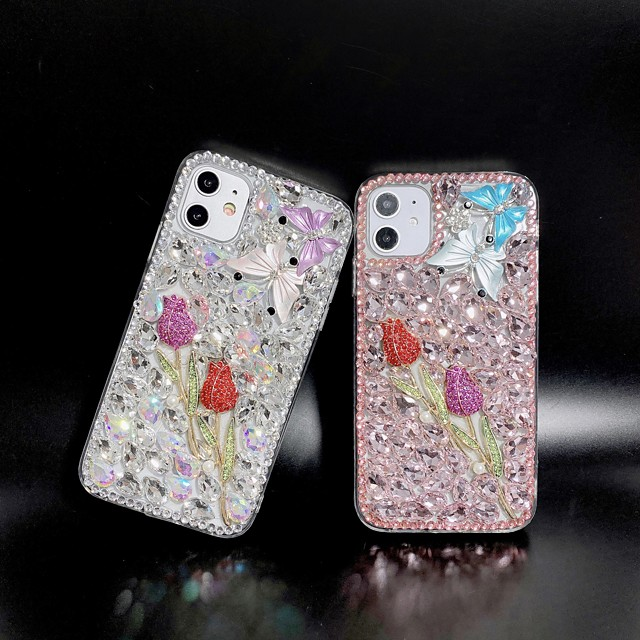 Rhinestone Flower TPU Case for Apple iPhone 11 Pro Max X XR XS Max 8 Plus 7 Plus 6 Plus SE Back Cover