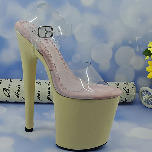 Women's Sandals Summer Stiletto Heel Open Toe Daily PU Yellow / Champagne / Clear / Transparent / PVC