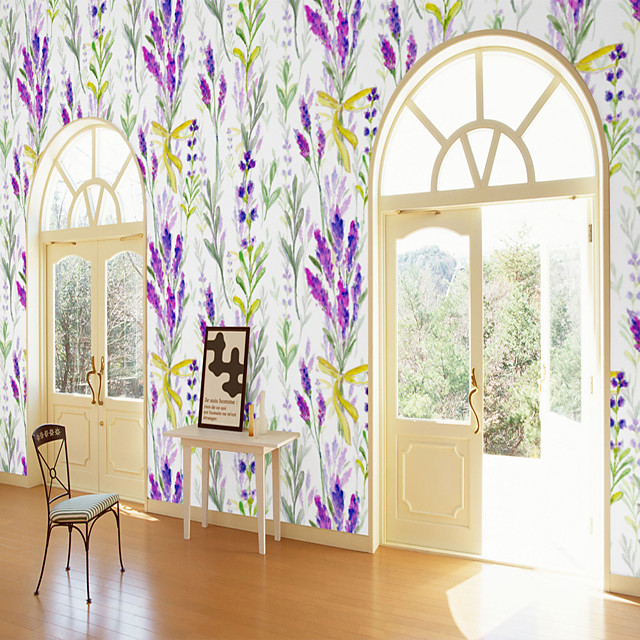 Custom Self-Adhesive Mural Wallpaper Lavender Pattern Is Suitable For Bedroom Living Room Coffee Shop Restaurant And Hotel Wall Decoration Art   Room Wallcovering Art Deco