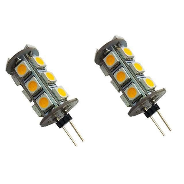 2pcs 2 W LED Bi-pin Lights 200 lm G4 18 LED Beads SMD 5050 Warm White White 12 V