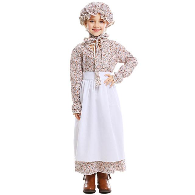 Maid Costume Dress Hat Flower Girl Dress Girls' Movie Cosplay A-Line Slip White Dress Apron Hat Children's Day Masquerade Cotton / Polyester