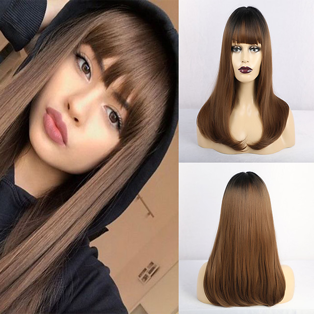 Synthetic Wig Matte Natural Straight Middle Part Neat Bang Wig Long Brown Synthetic Hair 20 inch Women's Adorable Waterfall Brown