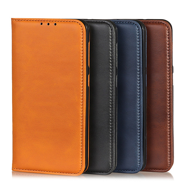 Case For OPPO OPPO Reno3 Card Holder / Shockproof Full Body Cases Solid Colored PU Leather