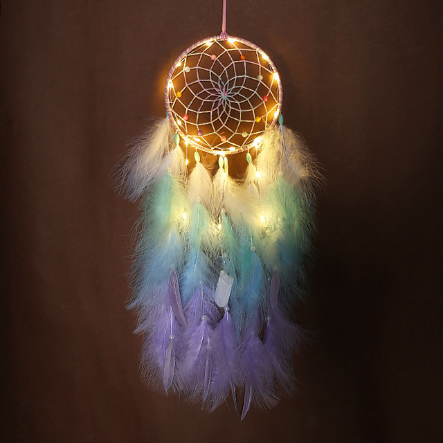 LED Boho Dream Catcher Handmade Gift Wall Hanging Decor Art Ornament Craft Feather 70*16cm for Kids Bedroom Wedding Festival
