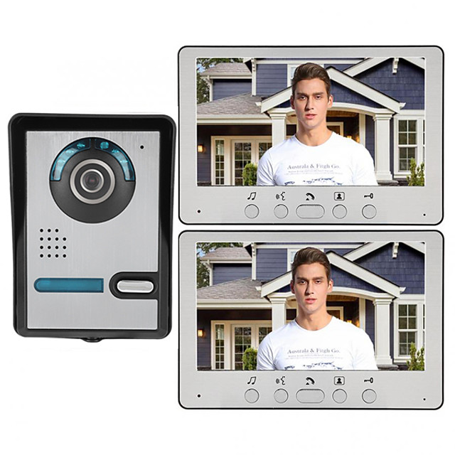 7 Inch Wire Video Door Phone Home Intercom System 1 Camera 2 Monitor with Unlock Monitor Function P812M11