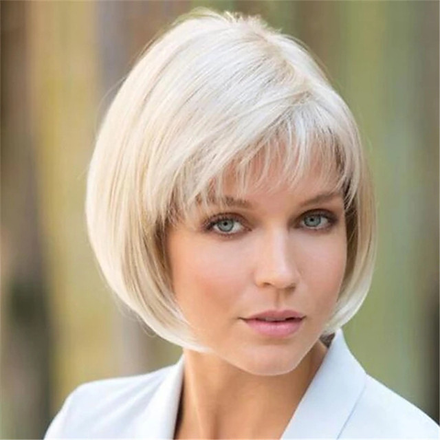 Synthetic Wig Curly Matte Bob Wig Short Creamy-white Synthetic Hair 6 inch Women's Fashionable Design Easy dressing White