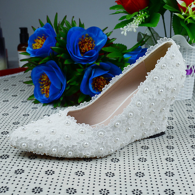 Women's Heels 2020 Wedge Heel Pointed Toe Wedding Party & Evening PU White