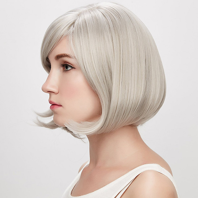 Synthetic Wig kinky Straight With Bangs Wig Short Creamy-white Synthetic Hair 12 inch Women's Simple Classic Women Silver
