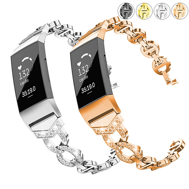 Watch Band for Fitbit Charge 3 Fitbit Jewelry Design Stainless Steel Wrist Strap