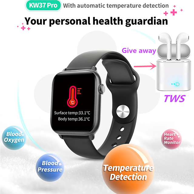KW37PRO Women Smart Bracelet Smartwatch BT GPS Fitness Equipment Monitor Waterproof with TWS Bluetooth HeadsetTake Body Temperature for Android Samsung/Huawei/Xiaomi iOS Apple Mobile Phone