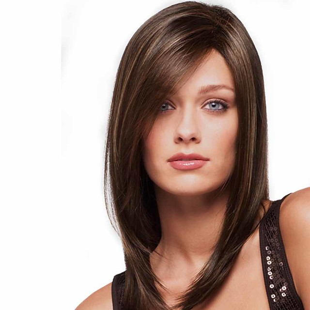 Synthetic Wig Matte kinky Straight Bob Wig Long Light Brown Synthetic Hair 14 inch Women's Fashionable Design Best Quality Highlighted / Balayage Hair Brown