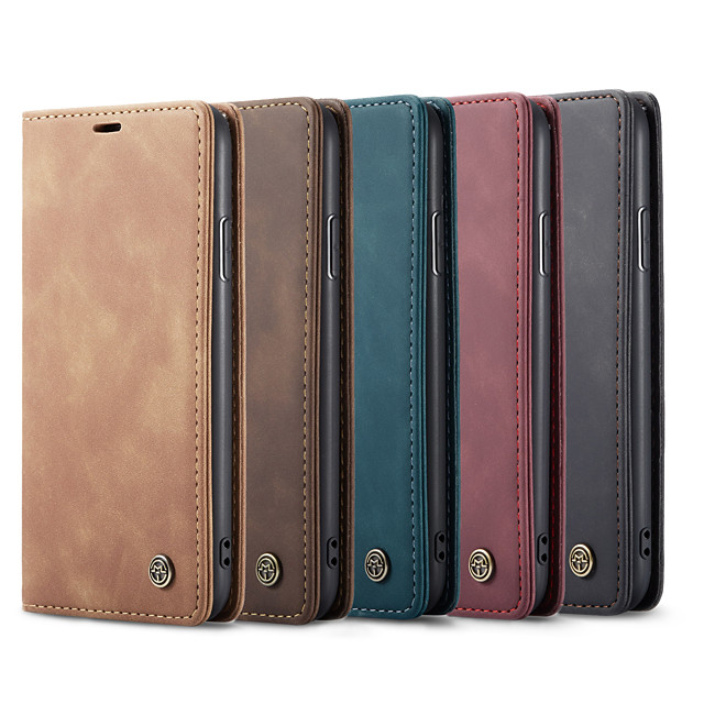 CaseMe New Retro Leather Magnetic Flip Case For iPhone SE2020 / 11 Pro Max / 11 Pro / 11 / Xs Max / Xs / Xr / X / 8 Plus / 7 Plus / 6 Plus / 8 / 7 / 6 With Wallet Card Slot Stand Cover