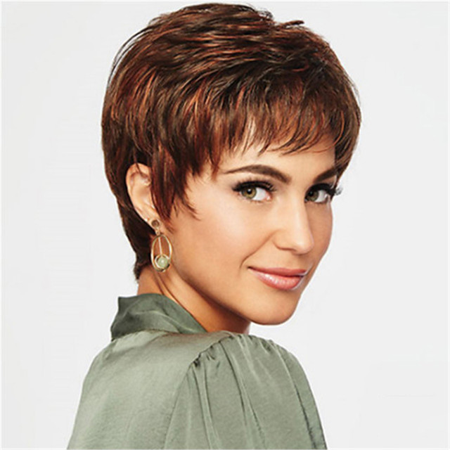 Synthetic Wig kinky Straight Pixie Cut Wig Short Light Brown Synthetic Hair 12 inch Women's Simple Classic Women Light Brown