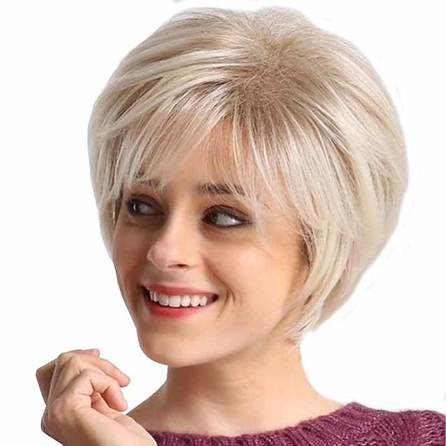 פאות סינתטיות מט טבעי תספורת שכבות פאה קצר זהב בהיר שיער סינטטי 6 אִינְטשׁ בגדי ריקוד נשים עיצוב אופנתי איכות מעולה מוֹכִי מוזהב