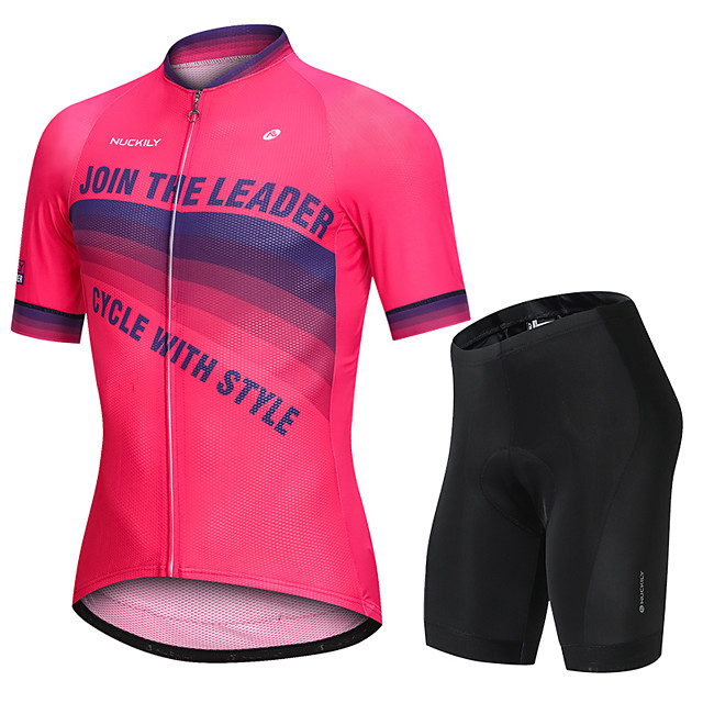 Nuckily Men's Short Sleeve Cycling Jersey with Shorts Fuchsia Gradient Bike Sports Gradient Road Bike Cycling Clothing Apparel