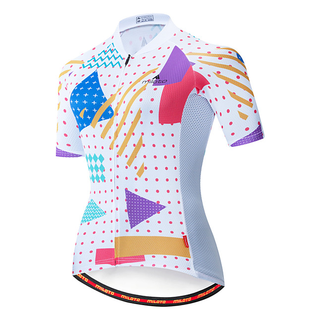 Miloto Women's Short Sleeve Cycling Jersey Blue / White Bike Jersey Top Mountain Bike MTB Road Bike Cycling Breathable Quick Dry Sports Clothing Apparel / Stretchy
