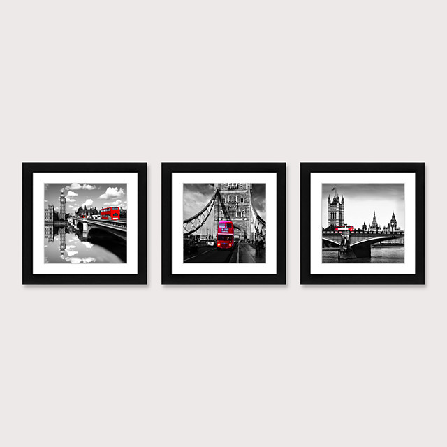 Framed Art Print Framed Set 3 American Style Pastoral Decorative Painting French Style Dining room Fresco Porch Bedroom Bedside  Black And White Building Street Scenery Hanging Pictures