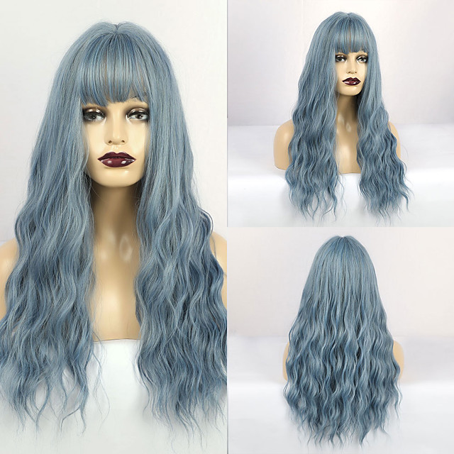 Synthetic Wig Matte Water Wave Middle Part Neat Bang Wig Long Lake Blue Synthetic Hair 24 inch Women's Lovely curling Fluffy Blue