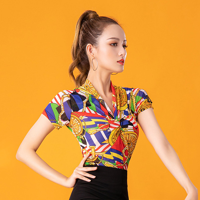 Ballroom Dance Top Pattern / Print Women's Performance Short Sleeve Ice Silk