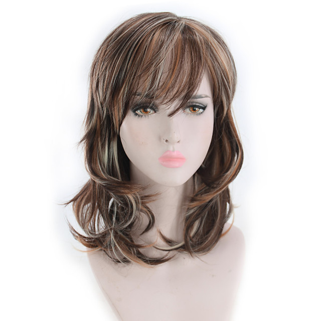 Synthetic Wig Curly Matte Bob Wig Long Light Brown Synthetic Hair 14 inch Women's Highlighted / Balayage Hair curling Fluffy Brown