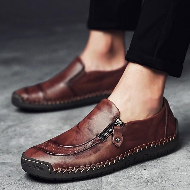 Men's Summer Outdoor Loafers & Slip-Ons PU Non-slipping Dark Brown / Black / Brown