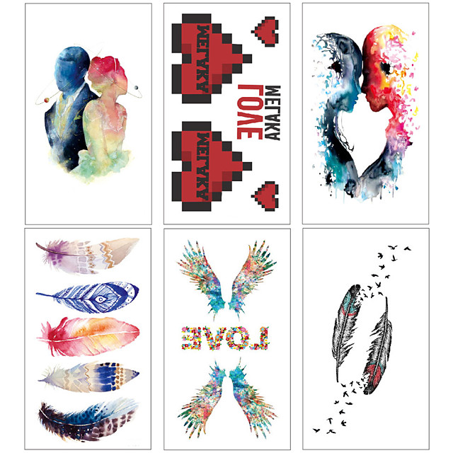 6 pcs Temporary Tattoos Water Resistant / Waterproof / Mini Style / Safety Face / Body / Hand Water-Transfer Sticker Body Painting Colors