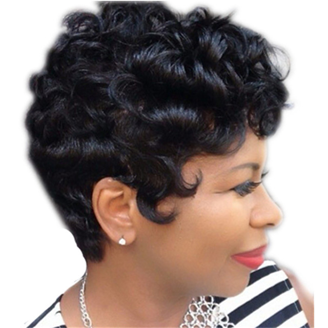 Synthetic Wig Curly Pixie Cut Wig Short Natural Black Synthetic Hair 12 inch Women's Simple Life Women Black