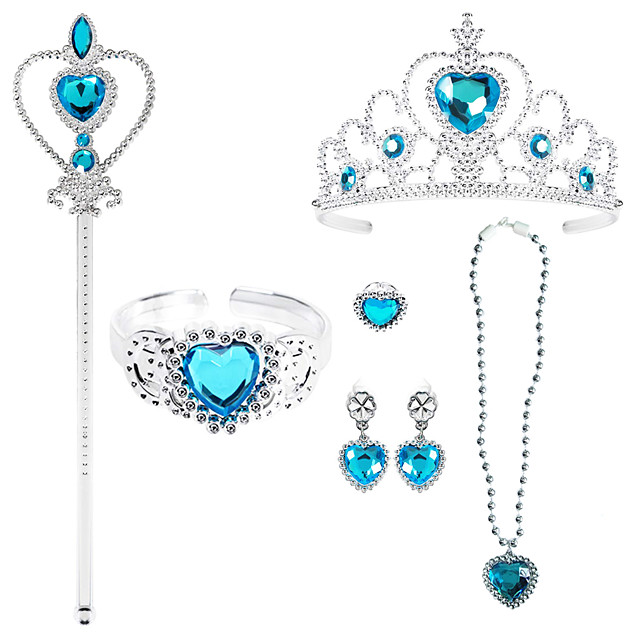 Princess Crown Outfits Masquerade Girls' Movie Cosplay Cosplay Halloween Blue 1 Ring Bracelet Crown Halloween Carnival Masquerade Plastic / Necklace / Earrings / Wand / Earrings / Necklace