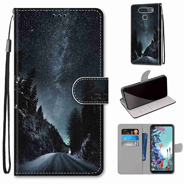 Case For LG Q70 / LG K50S / LG K40S Wallet / Card Holder / with Stand Full Body Cases Mountain Road PU Leather / TPU for LG K30 2019 / LG K20 2019