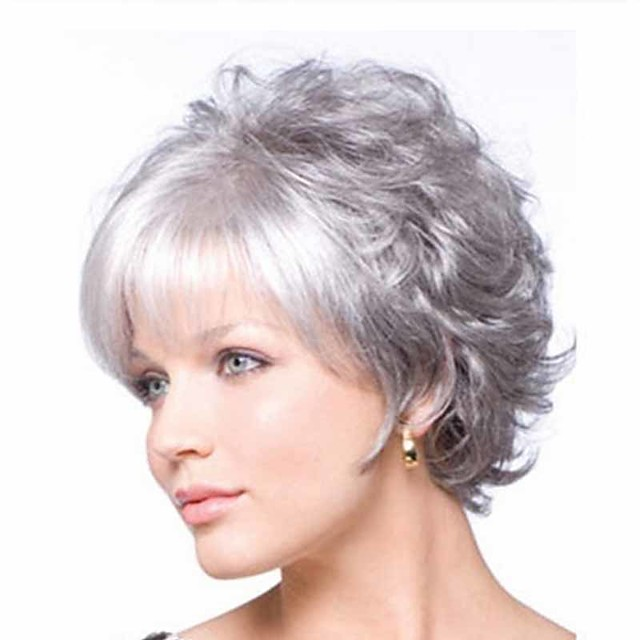 Synthetic Wig Curly Matte Short Bob Wig Short Grey Synthetic Hair 6 inch Women's Easy dressing curling Fluffy Gray