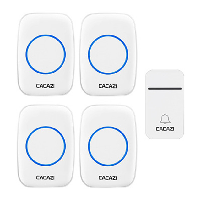 CACAZI Self-Powered Wireless Doorbell Waterproof 200M Remote No Battery Smart House Doorbell Family Turquoise Doorbell Ring Tone