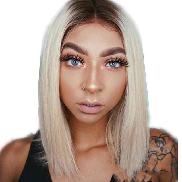 Synthetic Wig kinky Straight Middle Part Wig Short Light golden Synthetic Hair 12 inch Women's Simple Fashionable Design Women Blonde