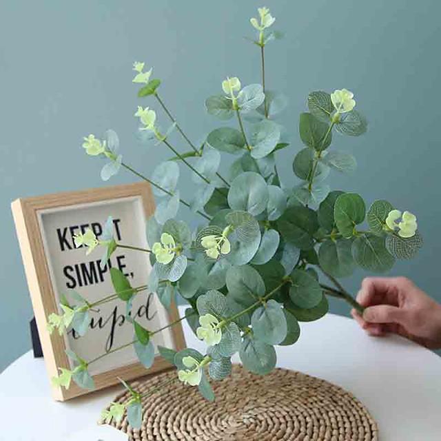 50cm 4 Fork Eucalyptus Money Leaf Flower Wall Wedding Road Dedicated Artificial Flowers 1 Stick