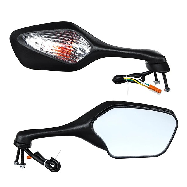 Pair Motorcycle Rear View Mirrors Turn Signal Light For Honda CBR1000RR 2008-2013